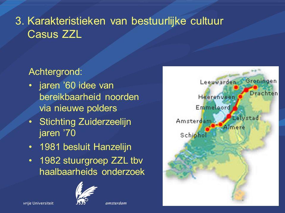 3. Karakteristieken van bestuurlijke cultuur Casus ZZL Achtergrond: jaren '60 idee van bereikbaarheid noorden via nieuwe polders Stichting Zuiderzeeli