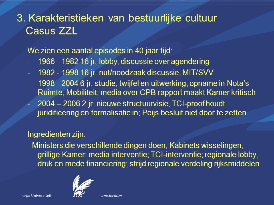 3. Karakteristieken van bestuurlijke cultuur Casus ZZL We zien een aantal episodes in 40 jaar tijd: -1966 - 1982 16 jr. lobby, discussie over agenderi