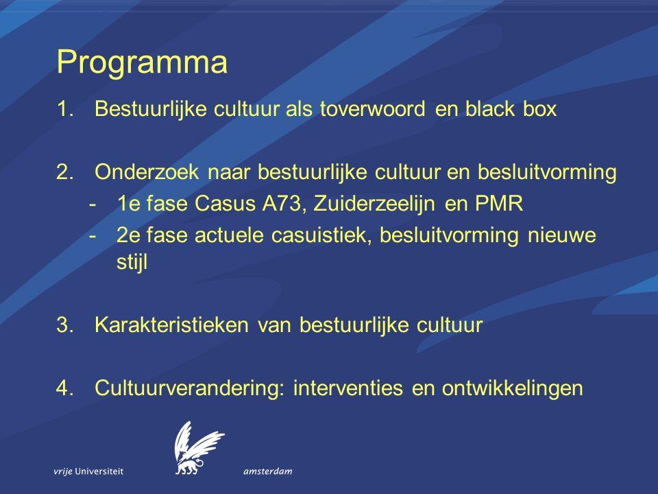 Programma 1.Bestuurlijke cultuur als toverwoord en black box 2.Onderzoek naar bestuurlijke cultuur en besluitvorming -1e fase Casus A73, Zuiderzeelijn en PMR -2e fase actuele casuistiek, besluitvorming nieuwe stijl 3.Karakteristieken van bestuurlijke cultuur 4.Cultuurverandering: interventies en ontwikkelingen