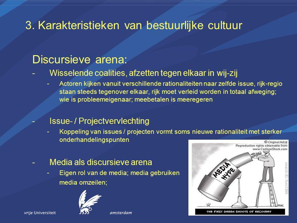 3. Karakteristieken van bestuurlijke cultuur Discursieve arena: -Wisselende coalities, afzetten tegen elkaar in wij-zij -Actoren kijken vanuit verschi
