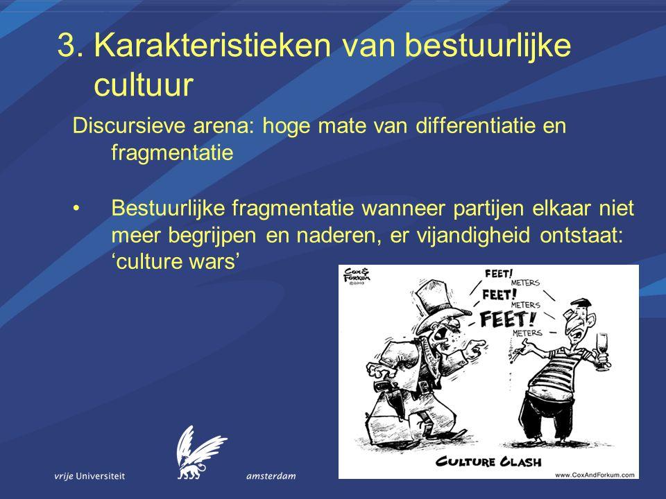 3. Karakteristieken van bestuurlijke cultuur Discursieve arena: hoge mate van differentiatie en fragmentatie Bestuurlijke fragmentatie wanneer partije