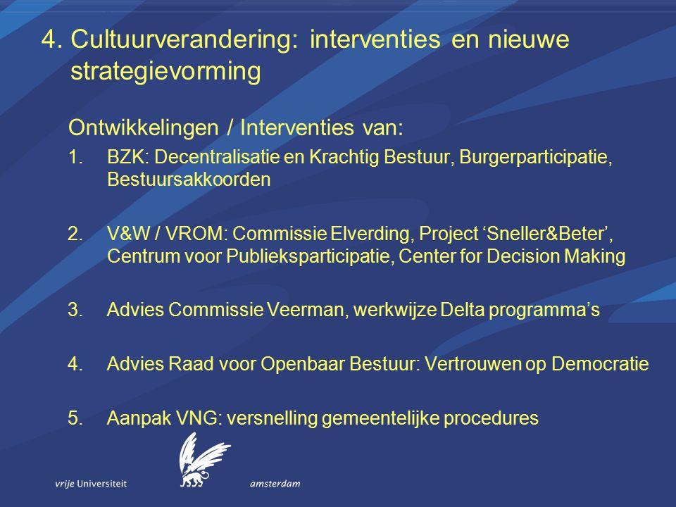 4. Cultuurverandering: interventies en nieuwe strategievorming Ontwikkelingen / Interventies van: 1.BZK: Decentralisatie en Krachtig Bestuur, Burgerpa