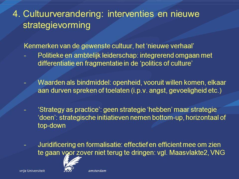 4. Cultuurverandering: interventies en nieuwe strategievorming Kenmerken van de gewenste cultuur, het 'nieuwe verhaal' -Politieke en ambtelijk leiders