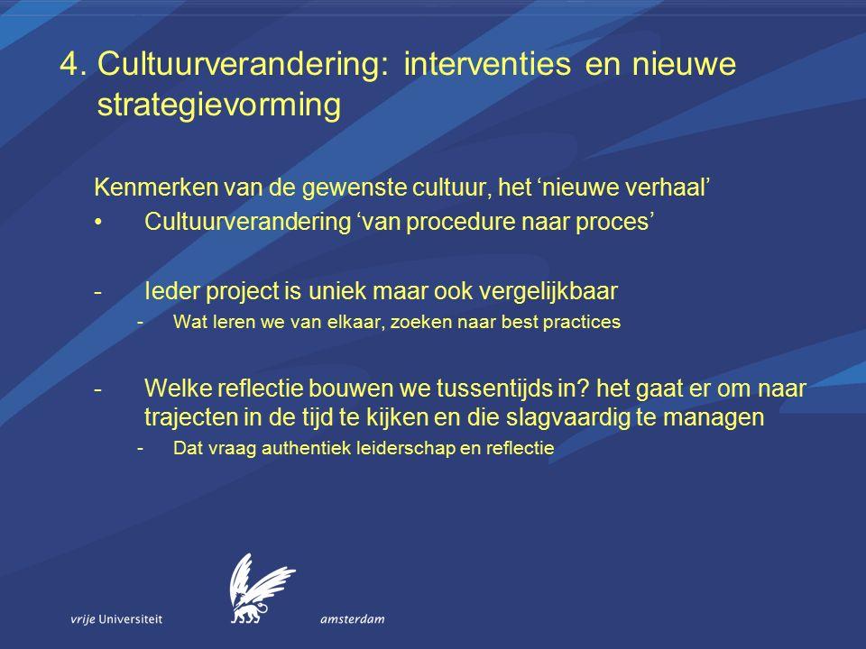 4. Cultuurverandering: interventies en nieuwe strategievorming Kenmerken van de gewenste cultuur, het 'nieuwe verhaal' Cultuurverandering 'van procedu