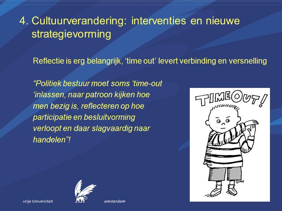 """4. Cultuurverandering: interventies en nieuwe strategievorming Reflectie is erg belangrijk, 'time out' levert verbinding en versnelling """"Politiek best"""