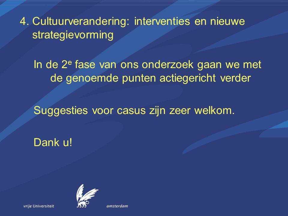 4. Cultuurverandering: interventies en nieuwe strategievorming In de 2 e fase van ons onderzoek gaan we met de genoemde punten actiegericht verder Sug