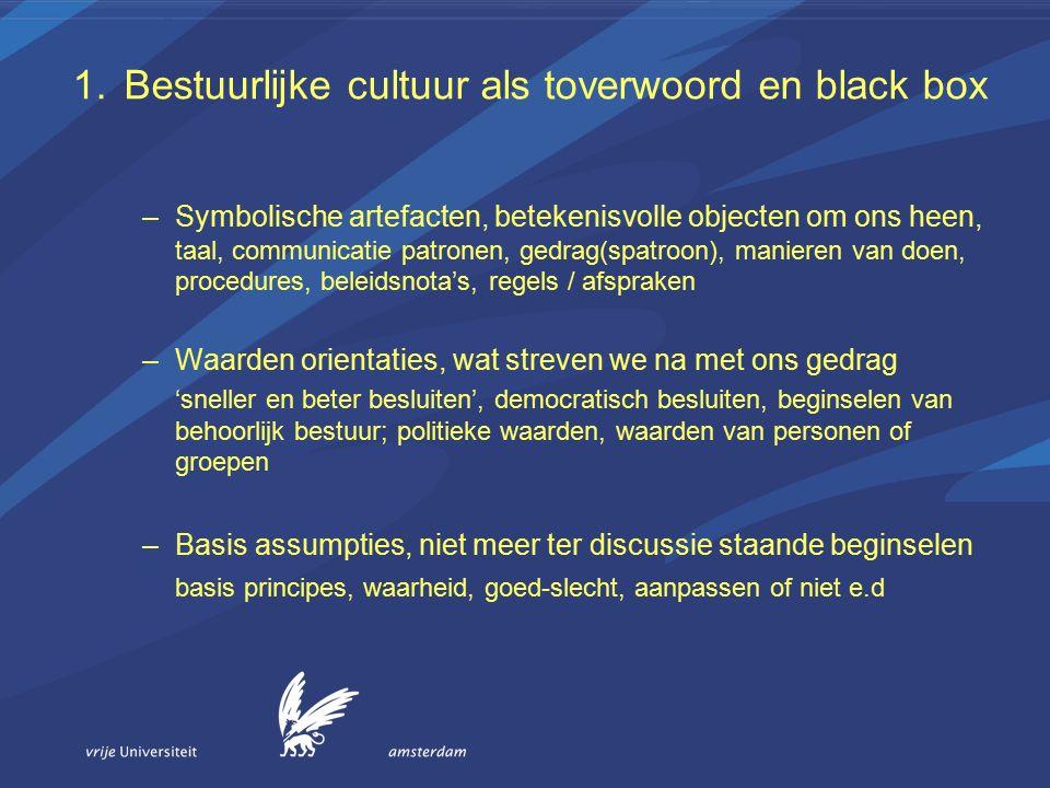 1.Bestuurlijke cultuur als toverwoord en black box