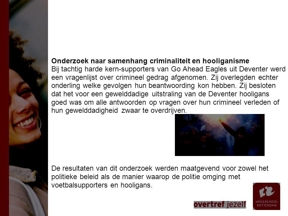 Onderzoek naar samenhang criminaliteit en hooliganisme Bij tachtig harde kern-supporters van Go Ahead Eagles uit Deventer werd een vragenlijst over crimineel gedrag afgenomen.