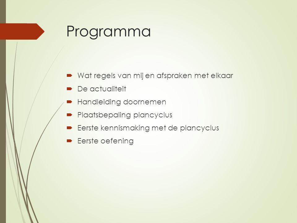 Programma  Wat regels van mij en afspraken met elkaar  De actualiteit  Handleiding doornemen  Plaatsbepaling plancyclus  Eerste kennismaking met