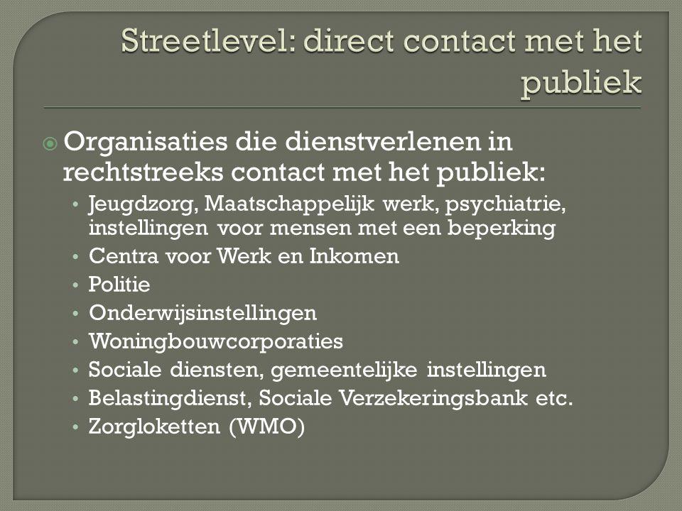  Organisaties die dienstverlenen in rechtstreeks contact met het publiek: Jeugdzorg, Maatschappelijk werk, psychiatrie, instellingen voor mensen met
