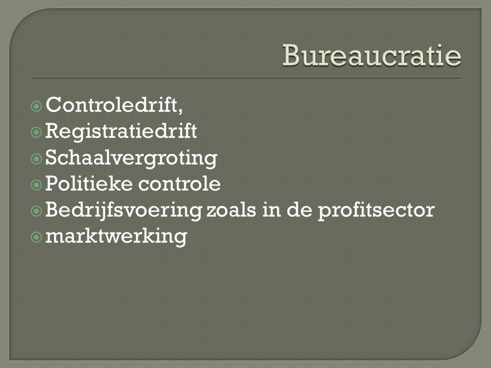  Controledrift,  Registratiedrift  Schaalvergroting  Politieke controle  Bedrijfsvoering zoals in de profitsector  marktwerking