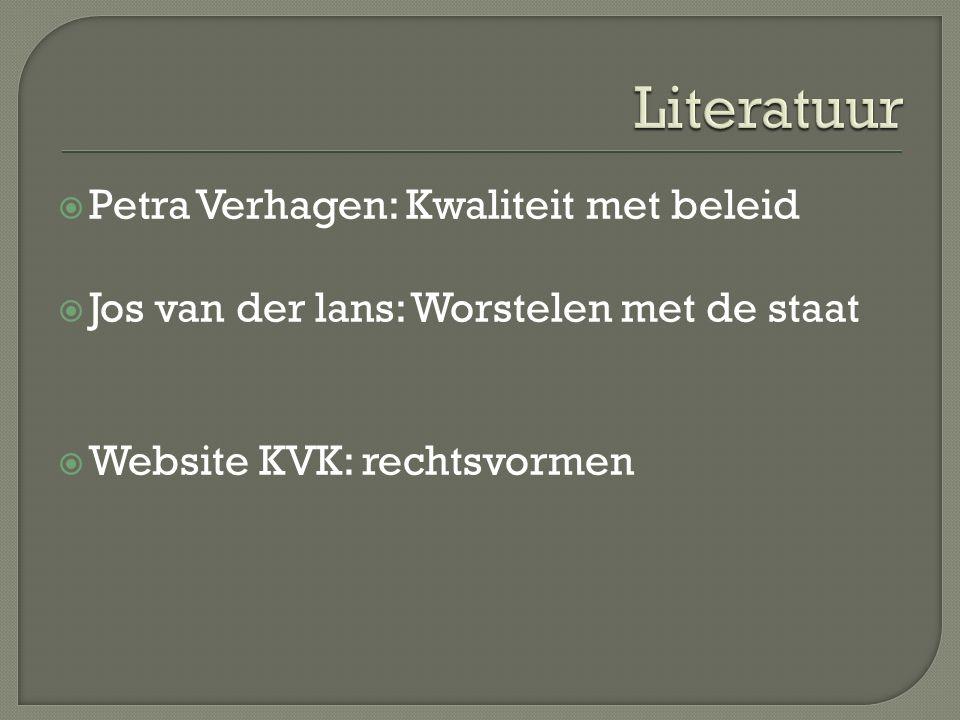  Petra Verhagen: Kwaliteit met beleid  Jos van der lans: Worstelen met de staat  Website KVK: rechtsvormen