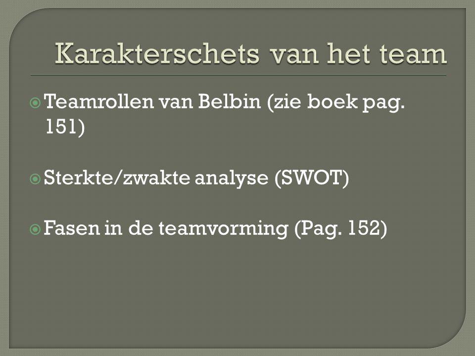  Teamrollen van Belbin (zie boek pag. 151)  Sterkte/zwakte analyse (SWOT)  Fasen in de teamvorming (Pag. 152)