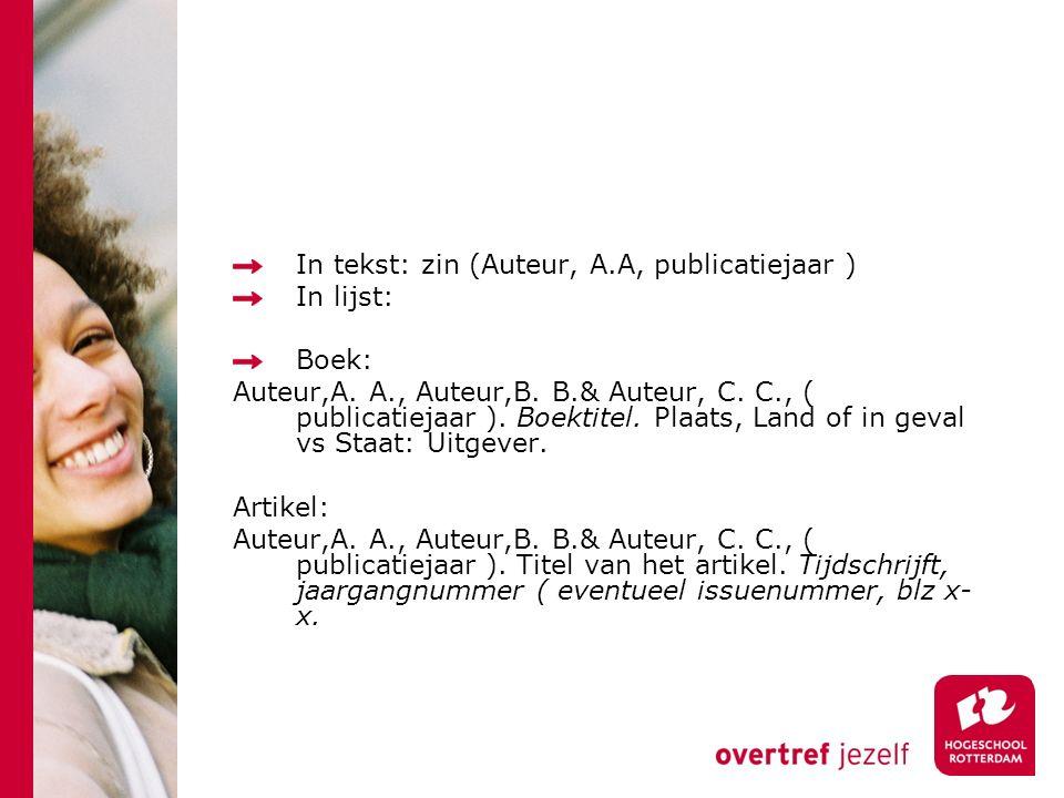 In tekst: zin (Auteur, A.A, publicatiejaar ) In lijst: Boek: Auteur,A.