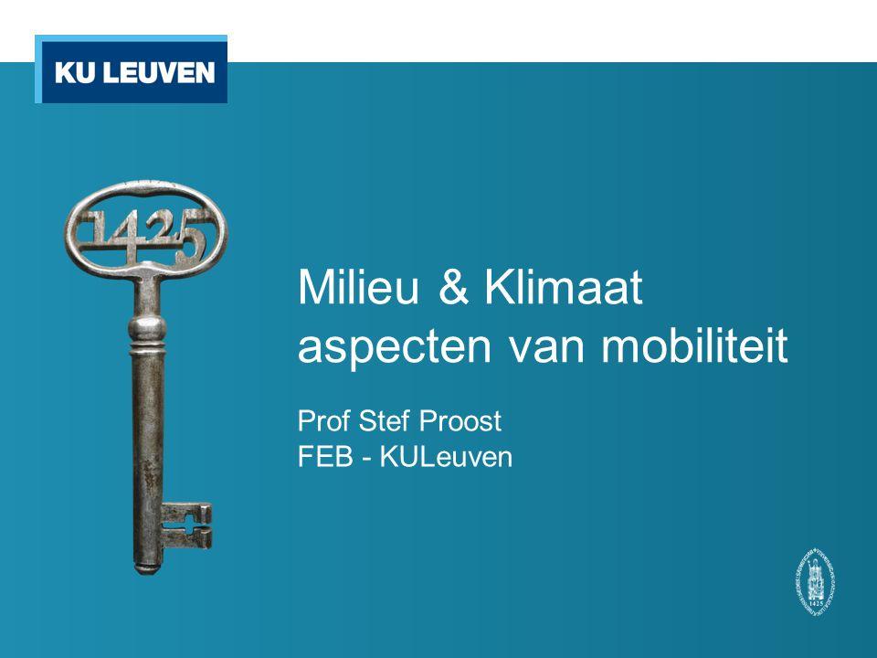 Milieu & Klimaat aspecten van mobiliteit Prof Stef Proost FEB - KULeuven