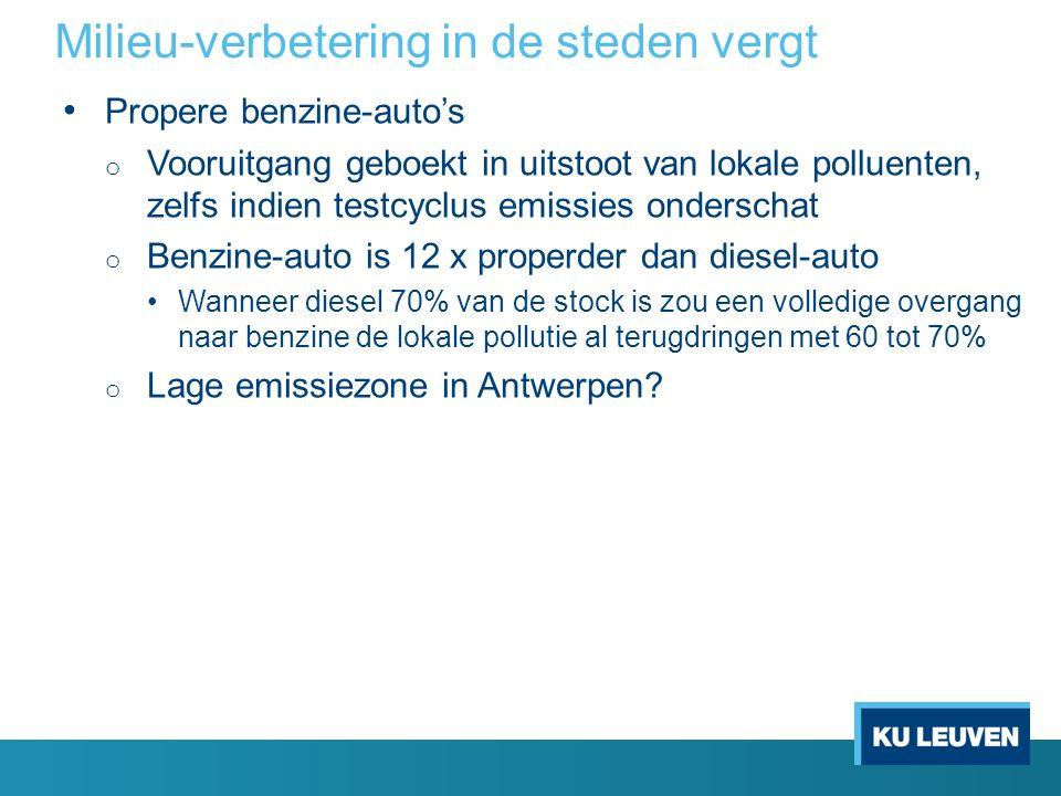 Milieu-verbetering in de steden vergt Propere benzine-auto's o Vooruitgang geboekt in uitstoot van lokale polluenten, zelfs indien testcyclus emissies onderschat o Benzine-auto is 12 x properder dan diesel-auto Wanneer diesel 70% van de stock is zou een volledige overgang naar benzine de lokale pollutie al terugdringen met 60 tot 70% o Lage emissiezone in Antwerpen?