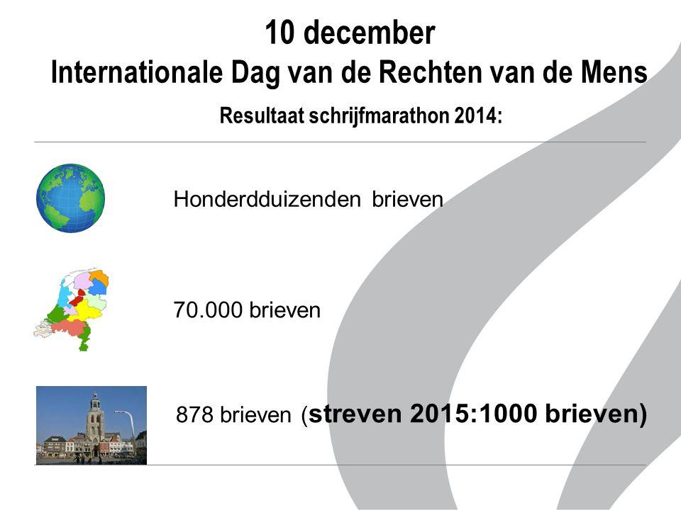10 december Internationale Dag van de Rechten van de Mens Resultaat schrijfmarathon 2014: 70.000 brieven 878 brieven ( streven 2015:1000 brieven) Honderdduizenden brieven
