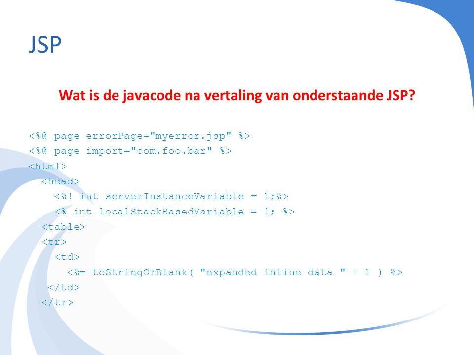 JSP Wat is de javacode na vertaling van onderstaande JSP