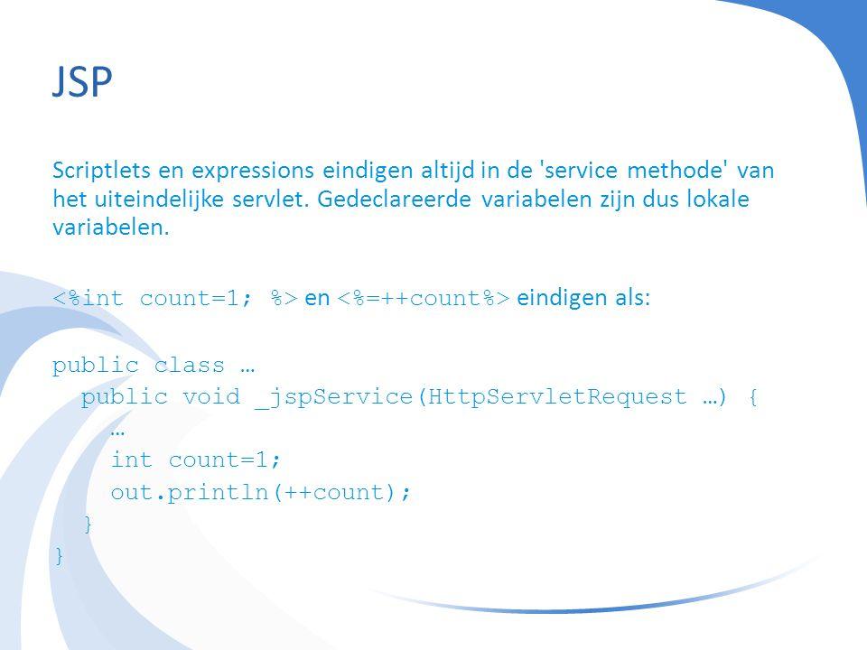 JSP Scriptlets en expressions eindigen altijd in de service methode van het uiteindelijke servlet.