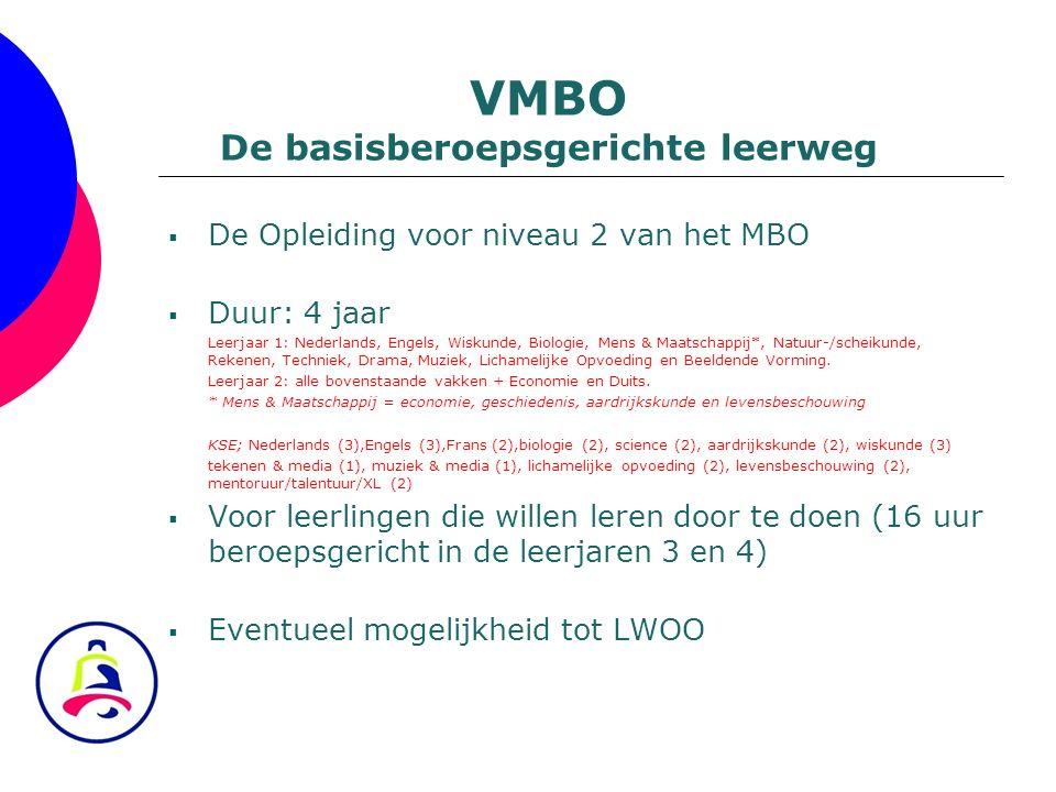  De Opleiding voor niveau 2 van het MBO  Duur: 4 jaar Leerjaar 1: Nederlands, Engels, Wiskunde, Biologie, Mens & Maatschappij*, Natuur-/scheikunde,