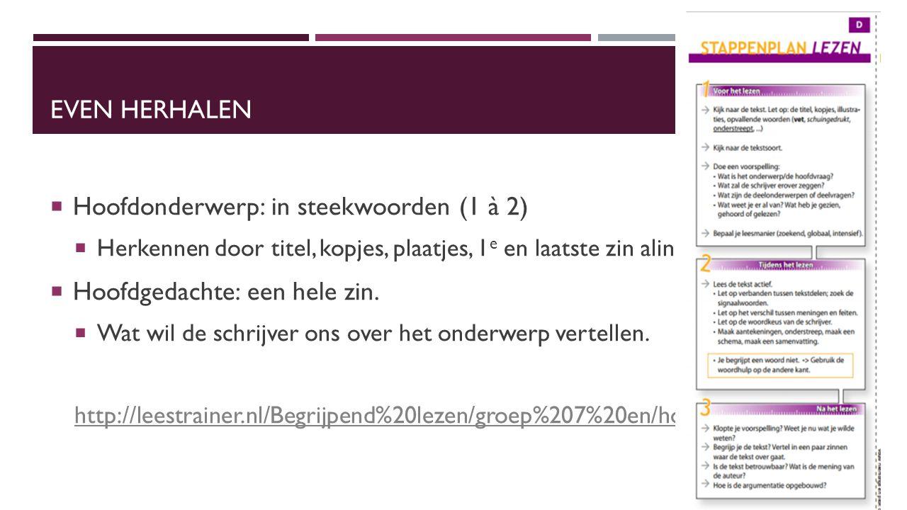 EVEN HERHALEN  Hoofdonderwerp: in steekwoorden (1 à 2)  Herkennen door titel, kopjes, plaatjes, 1 e en laatste zin alinea lezen  Hoofdgedachte: een