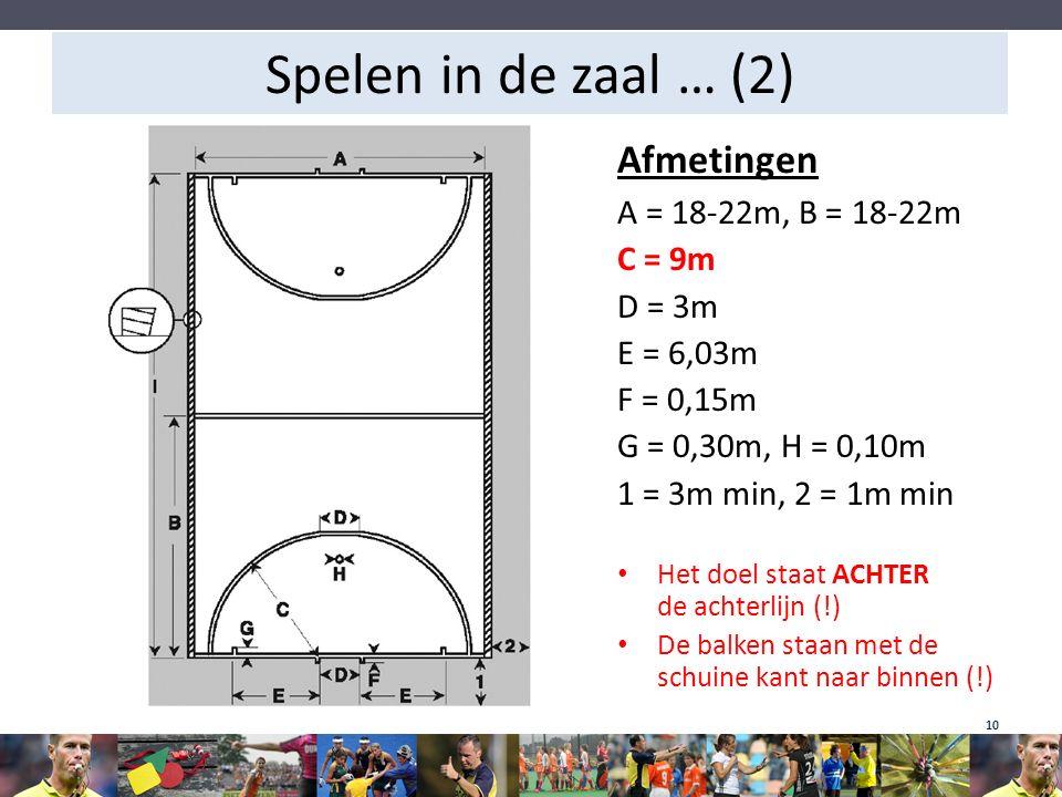 Spelen in de zaal … (2) Afmetingen A = 18-22m, B = 18-22m C = 9m D = 3m E = 6,03m F = 0,15m G = 0,30m, H = 0,10m 1 = 3m min, 2 = 1m min Het doel staat