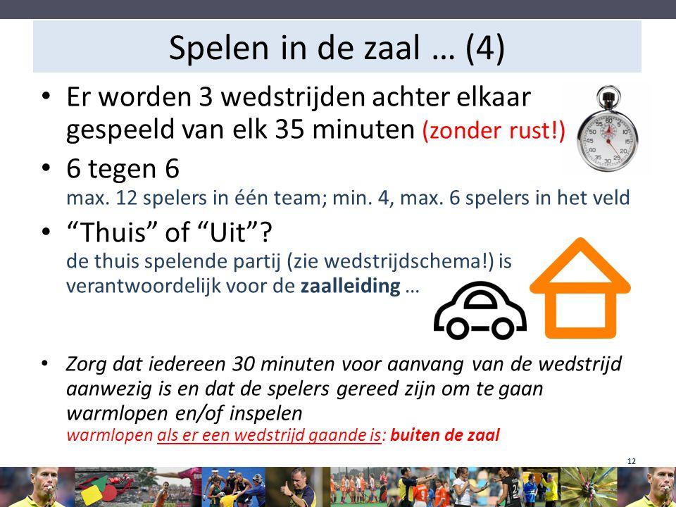 Spelen in de zaal … (4) Er worden 3 wedstrijden achter elkaar gespeeld van elk 35 minuten (zonder rust!) 6 tegen 6 max. 12 spelers in één team; min. 4