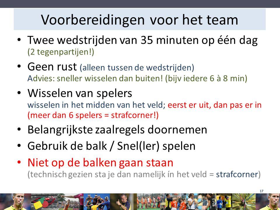 Voorbereidingen voor het team Twee wedstrijden van 35 minuten op één dag (2 tegenpartijen!) Geen rust (alleen tussen de wedstrijden) Advies: sneller w