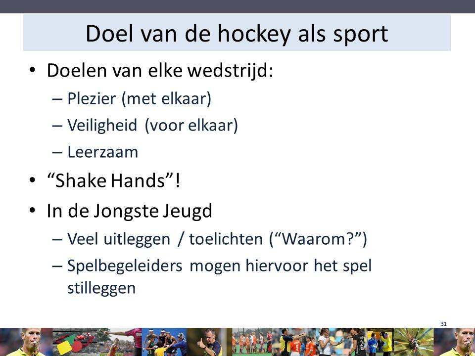 """Doel van de hockey als sport Doelen van elke wedstrijd: – Plezier (met elkaar) – Veiligheid (voor elkaar) – Leerzaam """"Shake Hands""""! In de Jongste Jeug"""