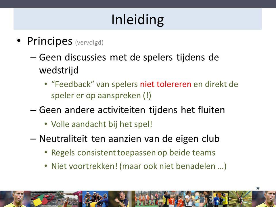 """Inleiding Principes (vervolgd) – Geen discussies met de spelers tijdens de wedstrijd """"Feedback"""" van spelers niet tolereren en direkt de speler er op a"""