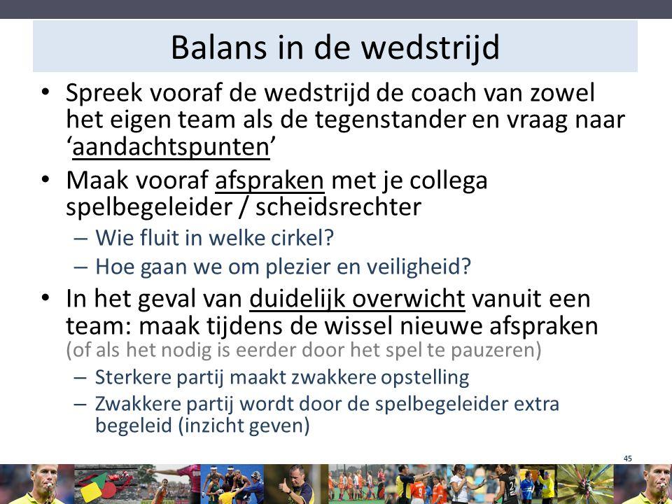 Balans in de wedstrijd Spreek vooraf de wedstrijd de coach van zowel het eigen team als de tegenstander en vraag naar 'aandachtspunten' Maak vooraf af