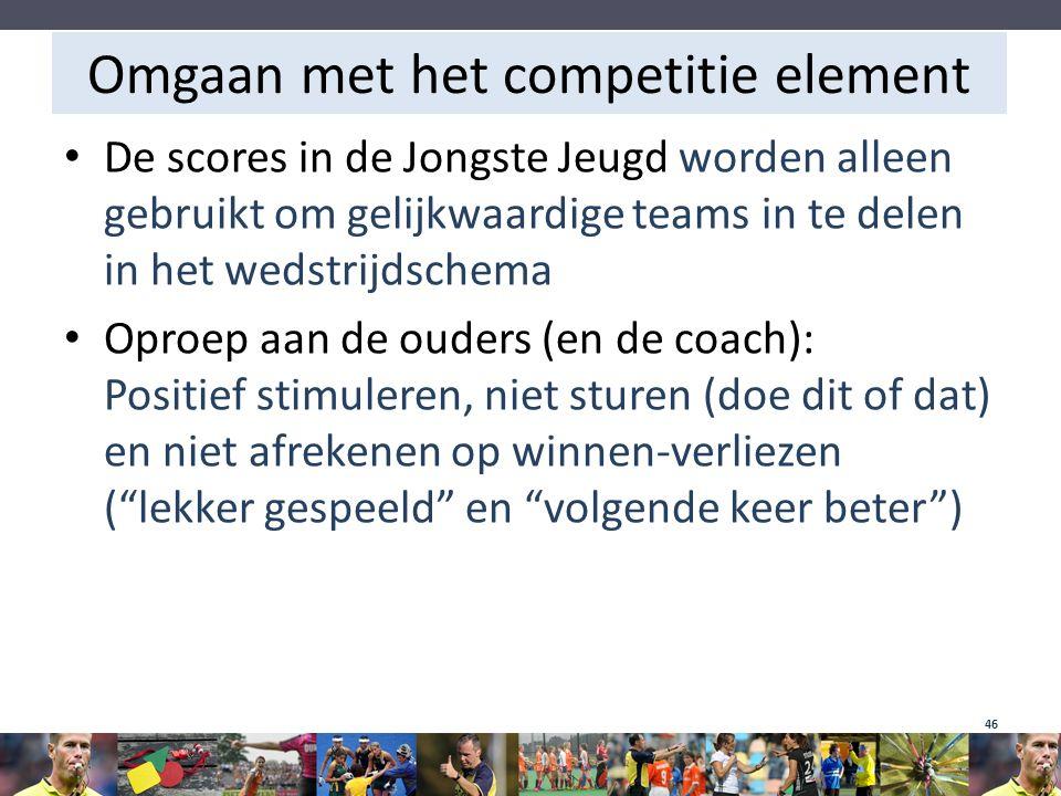 Omgaan met het competitie element De scores in de Jongste Jeugd worden alleen gebruikt om gelijkwaardige teams in te delen in het wedstrijdschema Opro
