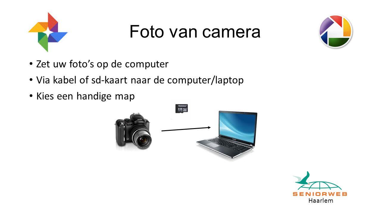 Haarlem Foto van camera Zet uw foto's op de computer Via kabel of sd-kaart naar de computer/laptop Kies een handige map