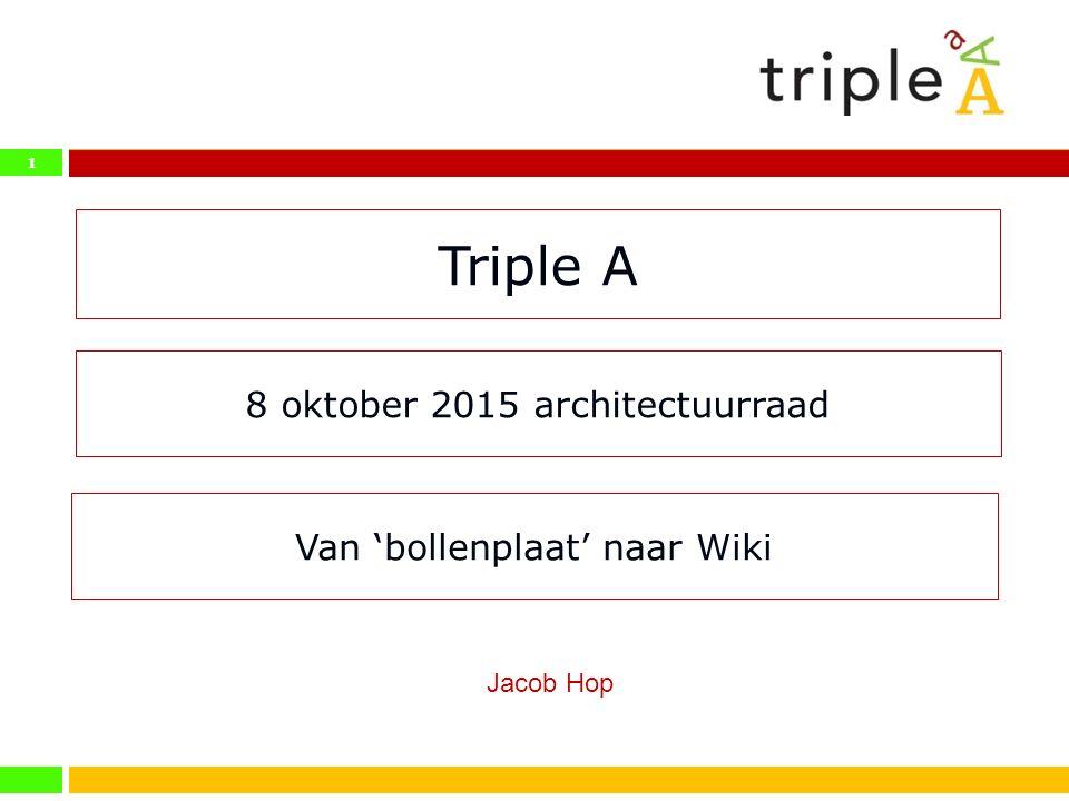 1 Triple A 8 oktober 2015 architectuurraad Jacob Hop Van 'bollenplaat' naar Wiki