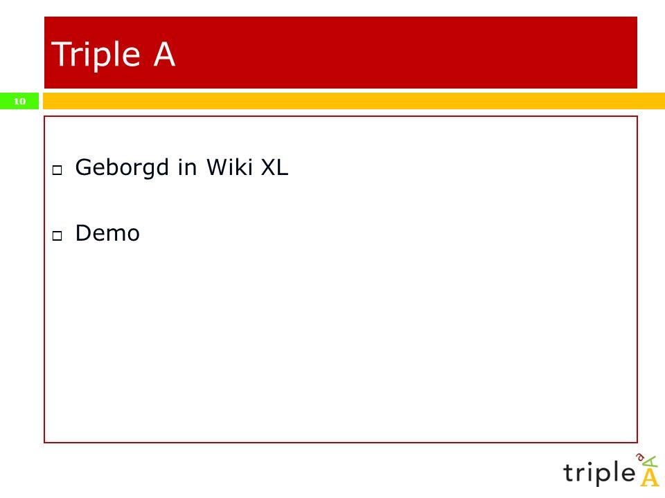 10 Triple A  Geborgd in Wiki XL  Demo