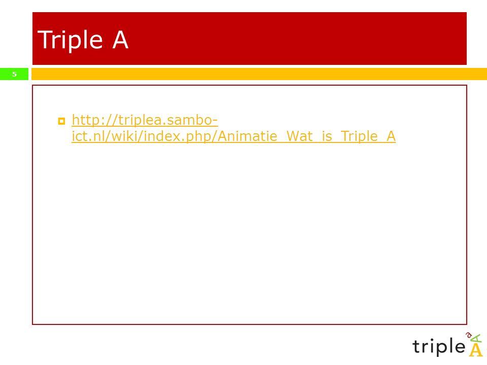 5 Triple A  http://triplea.sambo- ict.nl/wiki/index.php/Animatie_Wat_is_Triple_A http://triplea.sambo- ict.nl/wiki/index.php/Animatie_Wat_is_Triple_A