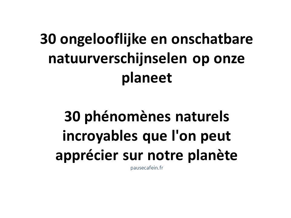 30 ongelooflijke en onschatbare natuurverschijnselen op onze planeet 30 phénomènes naturels incroyables que l'on peut apprécier sur notre planète paus