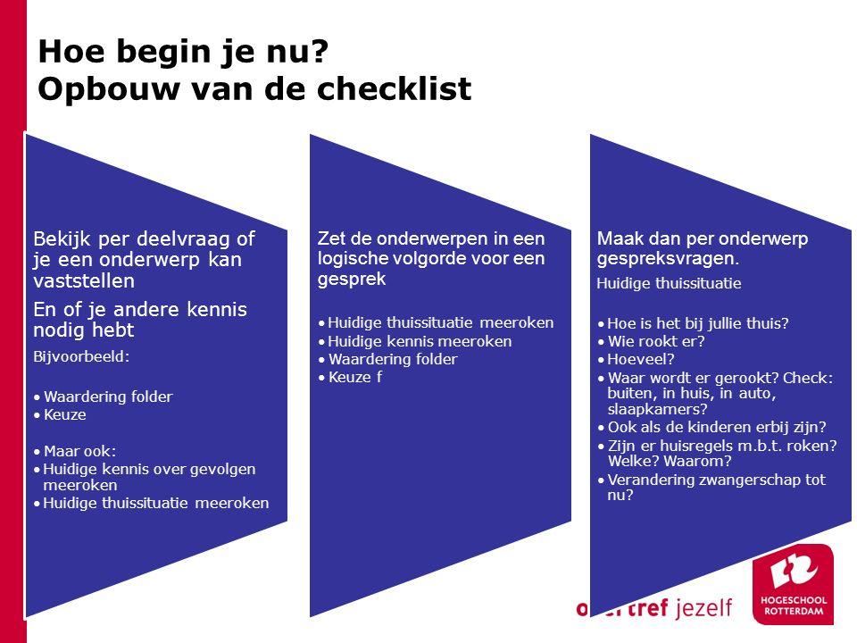 Hoe begin je nu? Opbouw van de checklist Bekijk per deelvraag of je een onderwerp kan vaststellen En of je andere kennis nodig hebt Bijvoorbeeld: Waar