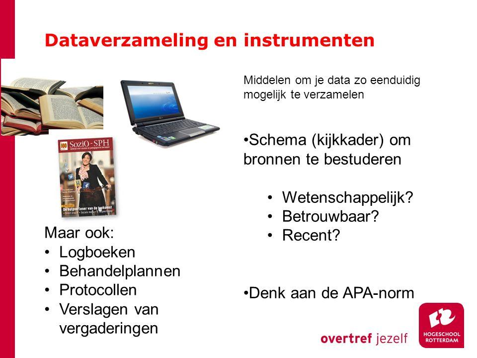 Dataverzameling en instrumenten Middelen om je data zo eenduidig mogelijk te verzamelen Observatieschema Participerend of niet.