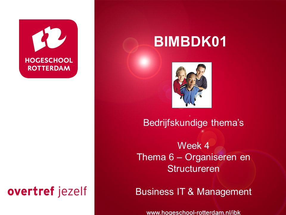 Presentatie titel Rotterdam, 00 januari 2007 BIMBDK01 Bedrijfskundige thema's Week 4 Thema 6 – Organiseren en Structureren Business IT & Management www.hogeschool-rotterdam.nl/ibk