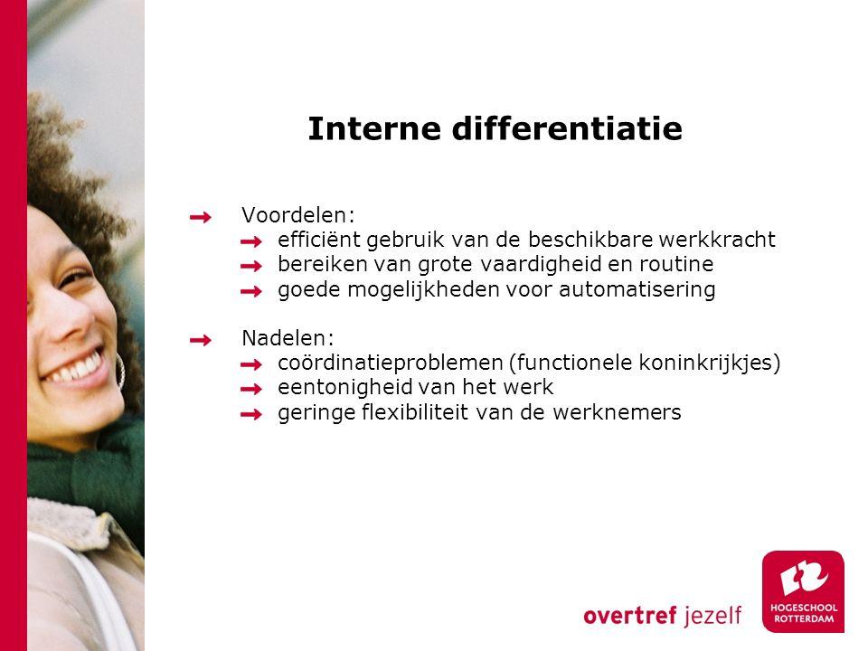 Interne differentiatie Voordelen: efficiënt gebruik van de beschikbare werkkracht bereiken van grote vaardigheid en routine goede mogelijkheden voor a