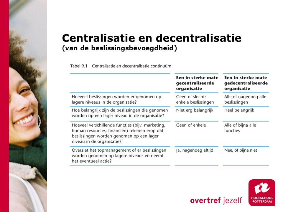 Centralisatie en decentralisatie (van de beslissingsbevoegdheid)