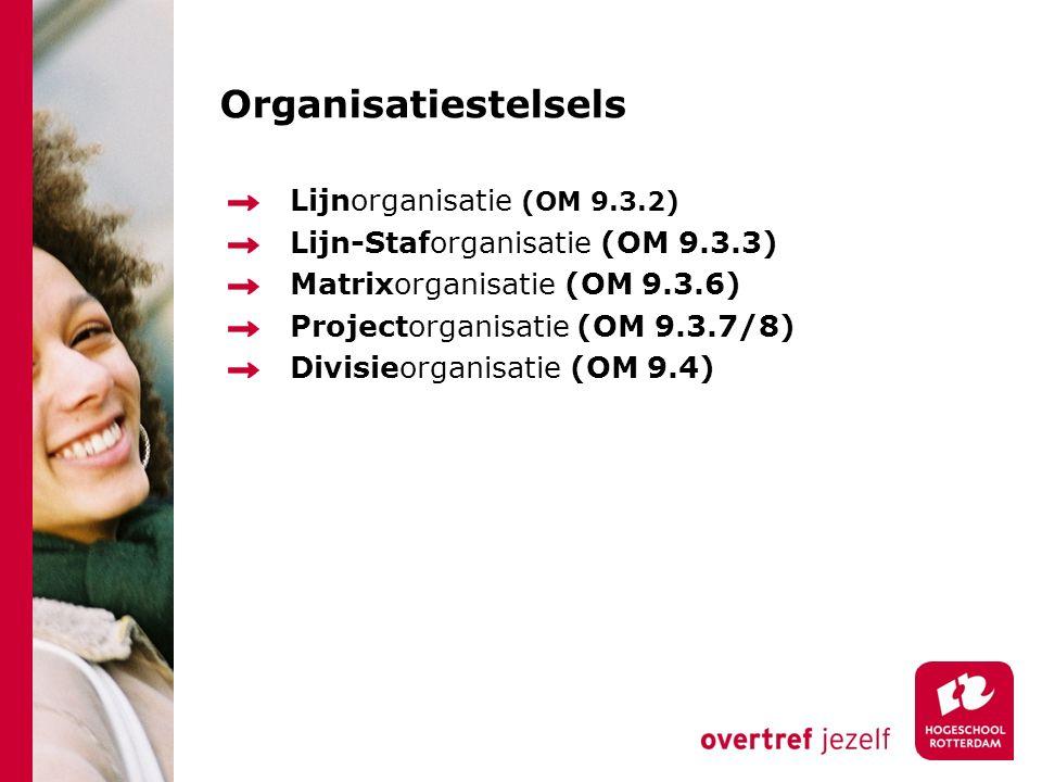 Organisatiestelsels Lijnorganisatie (OM 9.3.2) Lijn-Staforganisatie (OM 9.3.3) Matrixorganisatie (OM 9.3.6) Projectorganisatie (OM 9.3.7/8) Divisieorganisatie (OM 9.4)