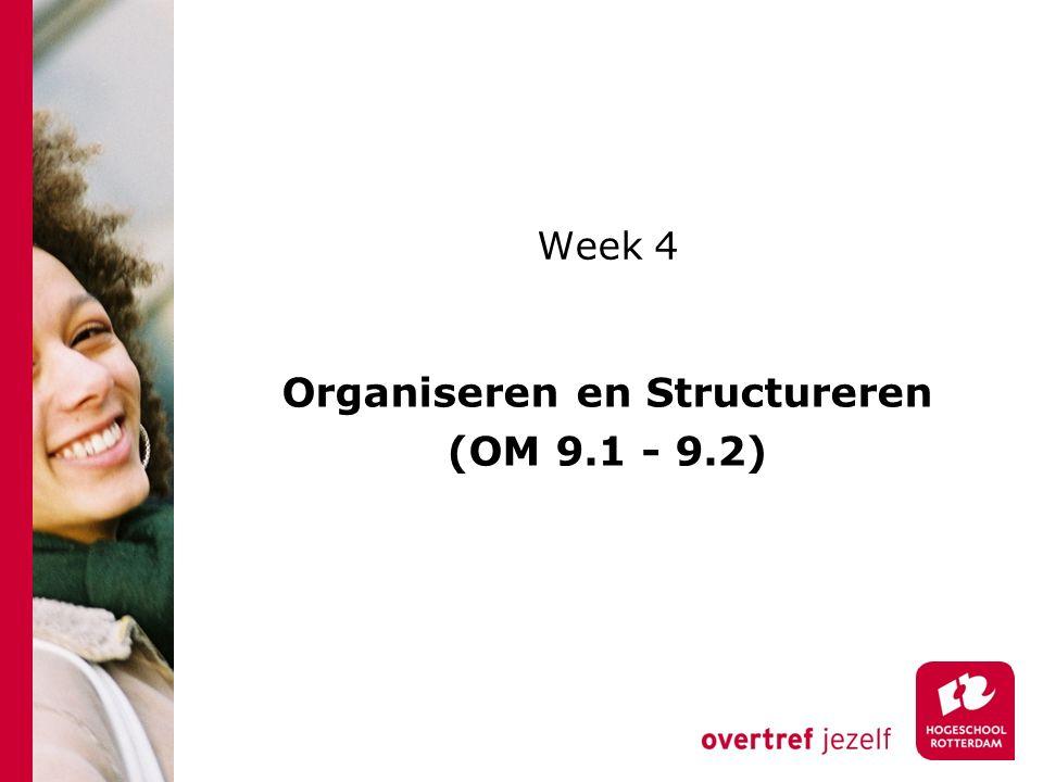 Week 4 Organiseren en Structureren (OM 9.1 - 9.2)