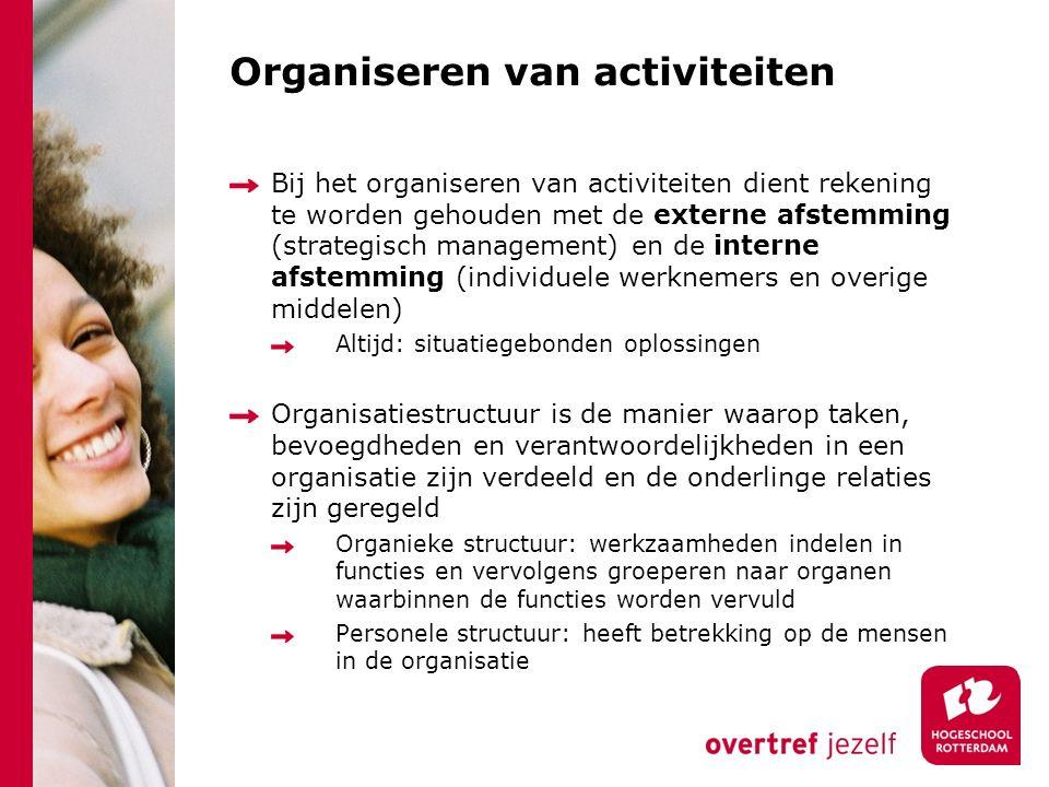 Organiseren van activiteiten Bij het organiseren van activiteiten dient rekening te worden gehouden met de externe afstemming (strategisch management)