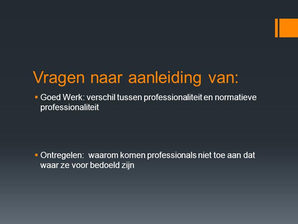 Vragen naar aanleiding van:  Goed Werk: verschil tussen professionaliteit en normatieve professionaliteit  Ontregelen: waarom komen professionals niet toe aan dat waar ze voor bedoeld zijn