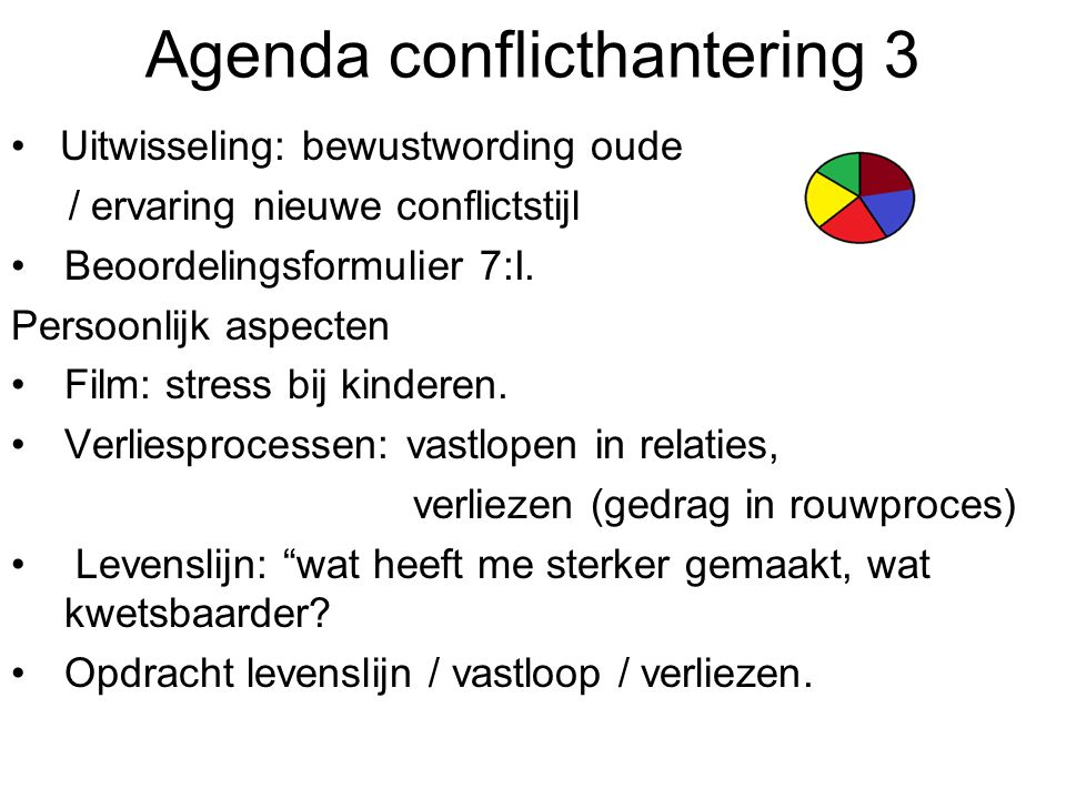 Agenda conflicthantering 3 Uitwisseling: bewustwording oude / ervaring nieuwe conflictstijl Beoordelingsformulier 7:I. Persoonlijk aspecten Film: stre