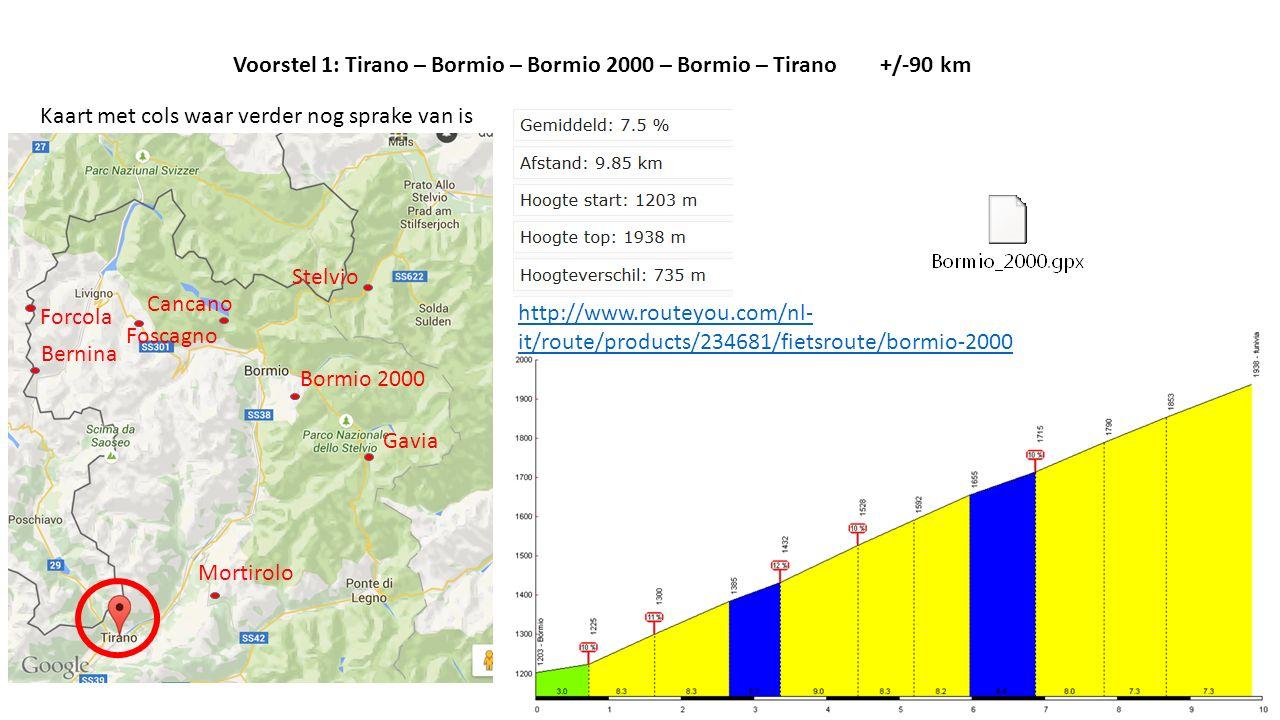 Stelvio Gavia Mortirolo Bormio 2000 Cancano Bernina Forcola Foscagno Kaart met cols waar verder nog sprake van is Voorstel 1: Tirano – Bormio – Bormio 2000 – Bormio – Tirano +/-90 km http://www.routeyou.com/nl- it/route/products/234681/fietsroute/bormio-2000