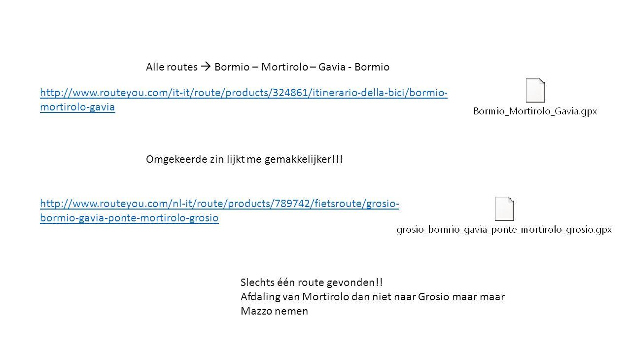 Alle routes  Bormio – Mortirolo – Gavia - Bormio Omgekeerde zin lijkt me gemakkelijker!!.