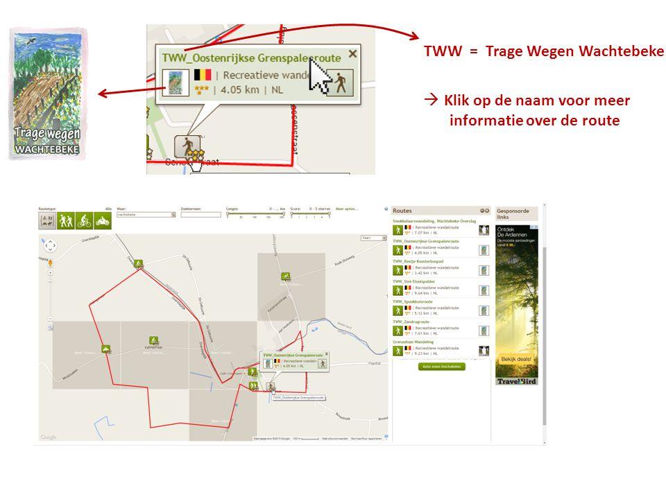 TWW = Trage Wegen Wachtebeke  Klik op de naam voor meer informatie over de route